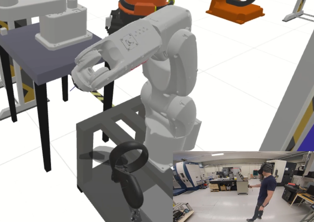 Virtual reality programming of a manufacturing cell